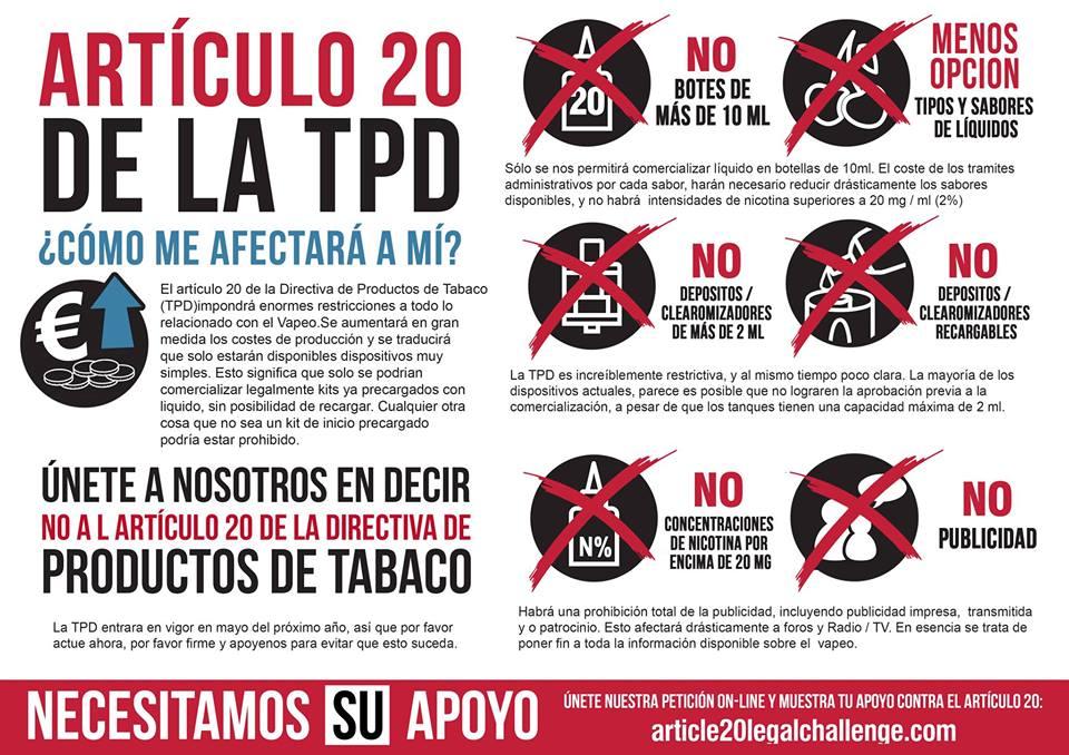 articulo 20 tpd cigarrillos electronicos vapeo regulacion normativa español