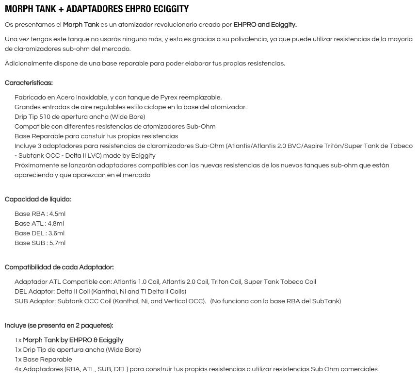 morph tank masquevapor caracteristicas